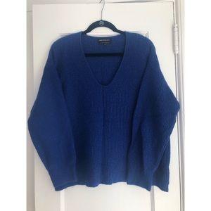 Something Navy Oversized Blue V-Neck Sweater